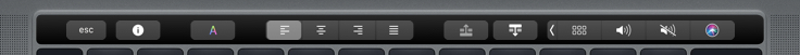 Text editing on the Touch Bar